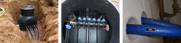 Anbindung der einzelnen Sonden mittels Verteilerschacht ans Geb�ude